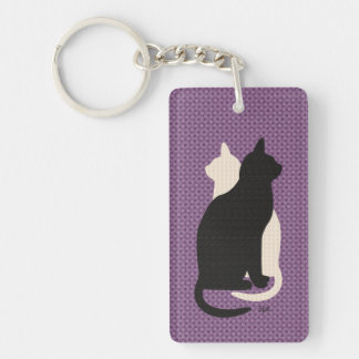 U Pick Color/ Good Luck Black White Kitty Catz Duo Double-Sided Rectangular Acrylic Keychain
