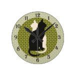 U Pick Color/ Good Luck Black White Kitty Catz Duo Round Clock
