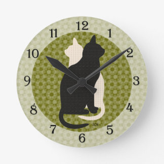 U Pick Color/ Good Luck Black White Kitty Catz Duo Round Clock