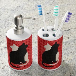 U Pick Color/Good Luck Black & White Kitty Catz Soap Dispenser And Toothbrush Holder