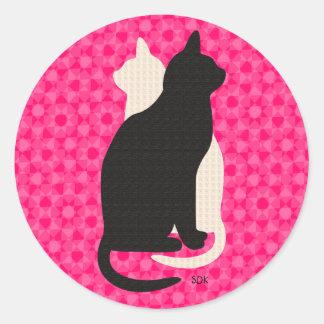 U Pick Color/Good Luck Black & White Kitty Catz Classic Round Sticker