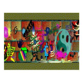 U-pick Color/ Graffiti Art on Brick Wall Postcard