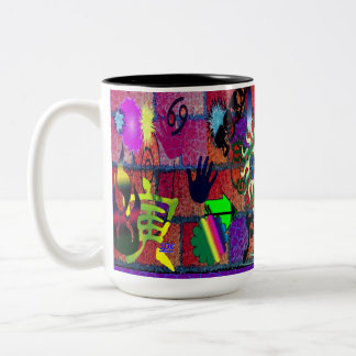 U-pick Color/ Graffiti Art on Brick Wall Two-Tone Coffee Mug