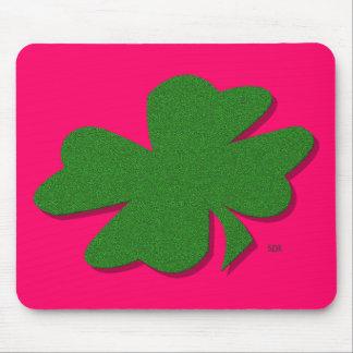 U-pick Color/ Green Good Luck Irish 4 Leaf Clover Mouse Pad