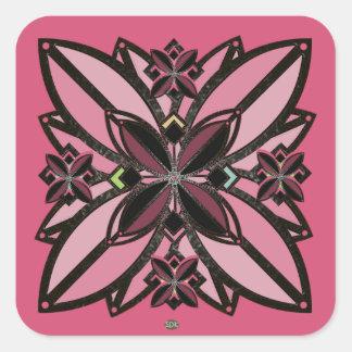 U-pick Color/ Iron Celtic Good Fortune Flower II Square Sticker