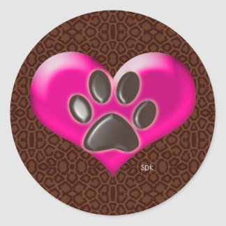 U-pick Color/Paws of Heart and Health Healing Classic Round Sticker