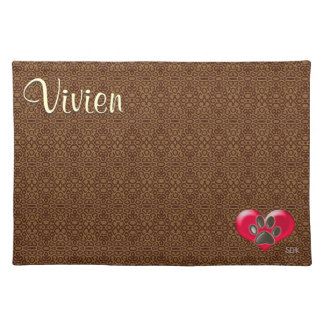 U-pick Color/Paws of Heart and Health Healing Cloth Placemat
