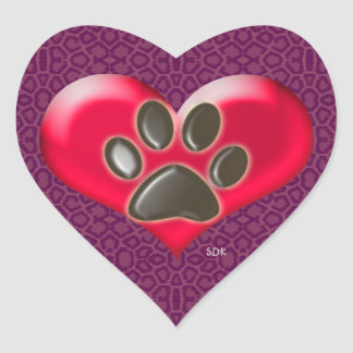 U-pick Color/Paws of Heart and Health Healing Heart Sticker
