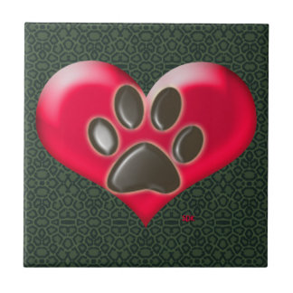 U-pick Color/Paws of Heart and Health Healing Small Square Tile