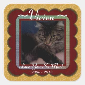 U Pick Color/Personalized Pet Memorial Square Sticker