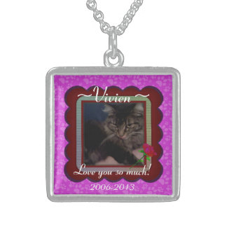 U Pick Color/Personalized Pet Memorial Sterling Silver Necklace