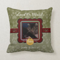 U Pick Color/Personalized Pet Memorial Throw Pillow