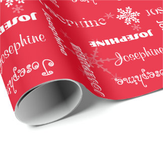 U Pick Color/ Personalized White Snowflakes w/Name Wrapping Paper