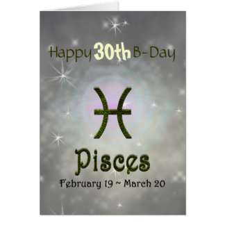U Pick Color/ Pisces Happy Birthday Age Card