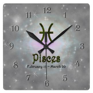 U Pick Color/ Pisces Zodiac Sign Square Wall Clock