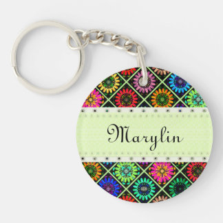 U Pick Color/ Radiant Scrapbook Flowers on Display Double-Sided Round Acrylic Keychain