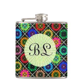 U Pick Color/ Radiant Scrapbook Flowers on Display Flask