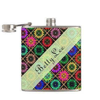 U Pick Color/ Radiant Scrapbook Flowers on Display Hip Flask