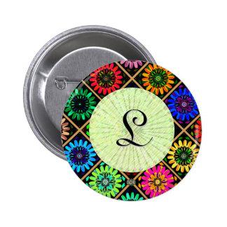 U Pick Color/ Radiant Scrapbook Flowers on Display Pinback Button