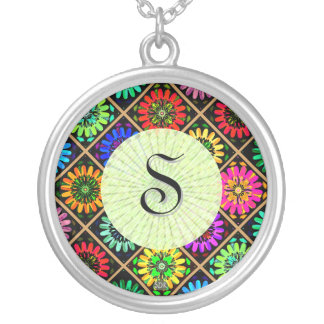 U Pick Color/ Radiant Scrapbook Flowers on Display Silver Plated Necklace