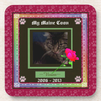 U Pick Color/Rainbow Personalized Pet Memorial Drink Coasters