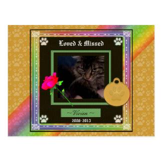 U Pick Color/Rainbow Personalized Pet Memorial Postcard