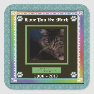 U Pick Color/Rainbow Personalized Pet Memorial Square Sticker