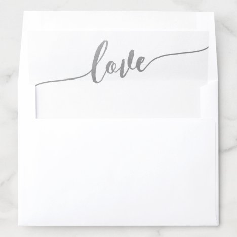 U PICK COLOR Romantic Silver Calligraphy Love Envelope Liner