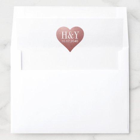 U PICK COLOR Rose Gold Heart Wedding Monogram Envelope Liner