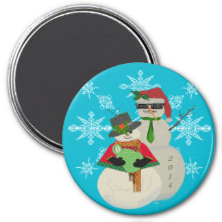 U Pick Color/ Snowman 1st Baby's First Christmas 3 Inch Round Magnet