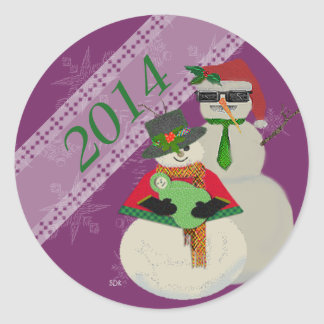 U Pick Color/ Snowman 1st Baby's First Christmas Classic Round Sticker