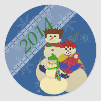 U Pick Color/ Snowman 2nd Baby's First Christmas Classic Round Sticker