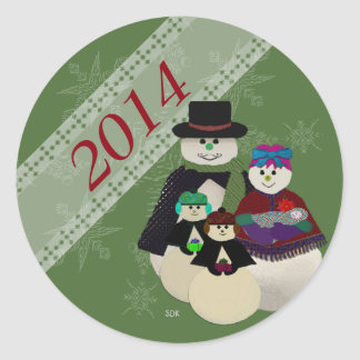 U Pick Color/Snowman 3rd After Twins 1st Christmas Classic Round Sticker