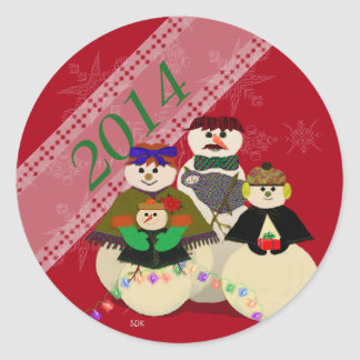 U Pick Color/ Snowman 3rd Baby's First Christmas Classic Round Sticker