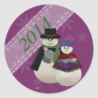 U Pick Color/ Snowman Twin Babys' First Christmas Classic Round Sticker