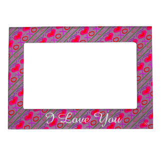 U Pick Color/ Valentine's Day Hugs and Kisses Magnetic Photo Frame