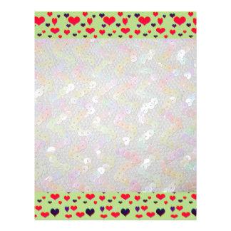 U Pick Color/ Valentine's Heart White Sequins Letterhead