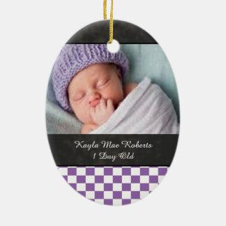 U-pick Color White Checkered Tiles Baby Keep Sake Ceramic Ornament
