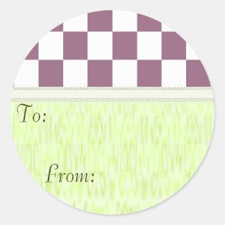 U-pick Color White Checkered Tiles Classic Round Sticker