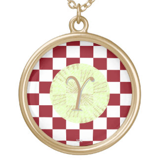 U-pick Color White Checkered Tiles Gold Plated Necklace