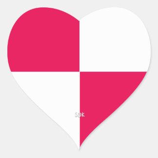 U-pick Color White Checkered Tiles Heart Sticker