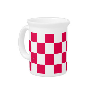 U-pick Color White Checkered Tiles Pitcher