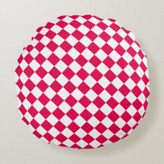 U-pick Color White Checkered Tiles Round Pillow