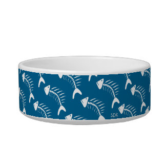 U Pick Color/ White Fish Bones Kitty Cat Bowl