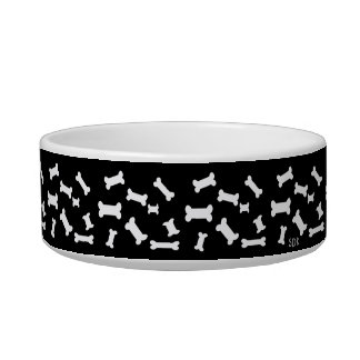 U Pick Color/ White Scattered Puppy Dog Bones Bowl