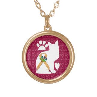 U-pick the Color/Animal Cruelty Prevention Ribbon Round Pendant Necklace