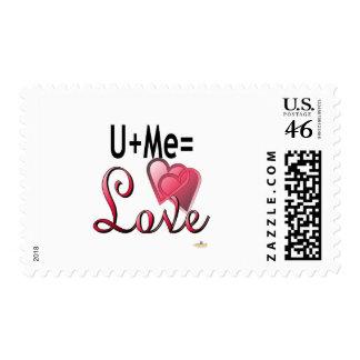 U Plus Me Equals Love Stamps