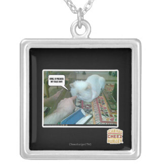 U pushed my face in! silver plated necklace