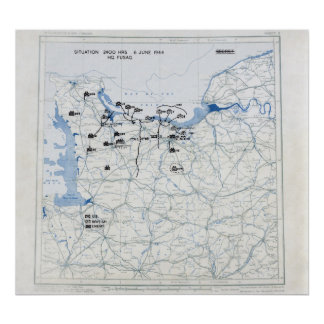 U.S. 12th Army position map at 2400 on D-Day Poster