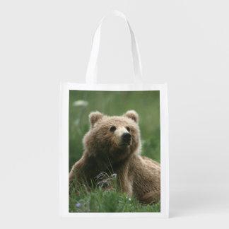 U.S.A., Alaska, Kodiak Two sub-adult brown bears Grocery Bag